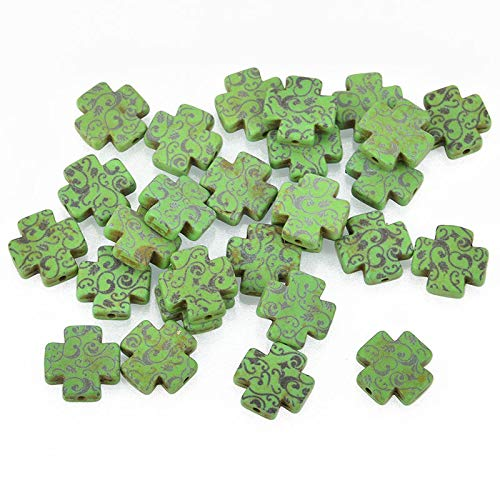 New 10 Green Howlite Maltese Cross Beads, 15mm, Laser Engraved ()