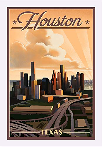 Houston Framed Lithograph (Houston, Texas - Lithograph (16x24 Giclee Art Print, Gallery Framed, White Wood))