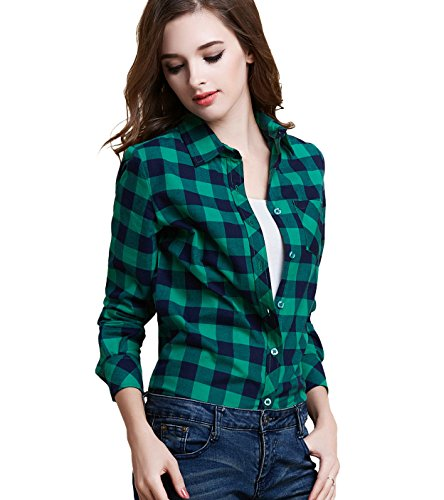 Green Plaid Flannel Shirt (Tanming Women's Long Sleeve Fashion Plaid Shirts (Large, green))