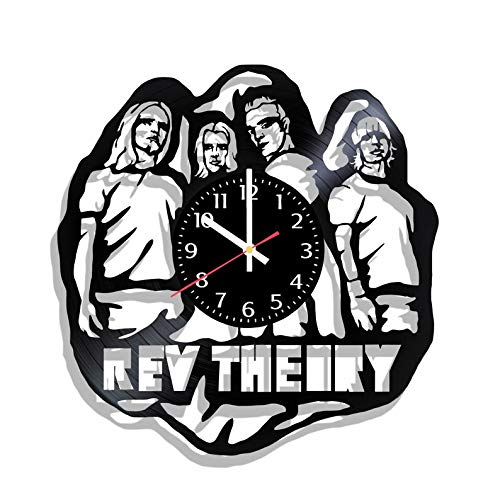 BombStudio Rev Theory Vinyl Record Wall Clock, Rev Theory Handmade for Kitchen, Office, Bedroom. Rev Theory Ideal Wall Poster -
