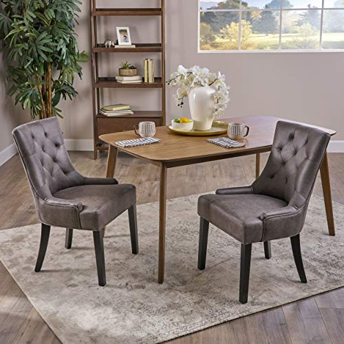 Sarah Traditional Microfiber Dining Chairs Set of 2 , Slate