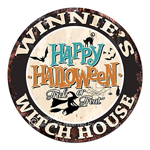 Winnie'S Happy Halloween Witch House Chic Tin Sign Rustic Shabby Vintage Style Retro Kitchen Bar Pub Coffee Shop Man cave Decor Gift Ideas -
