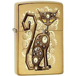 Zippo Lighter: Steampunk Cat - Brushed Brass 76737