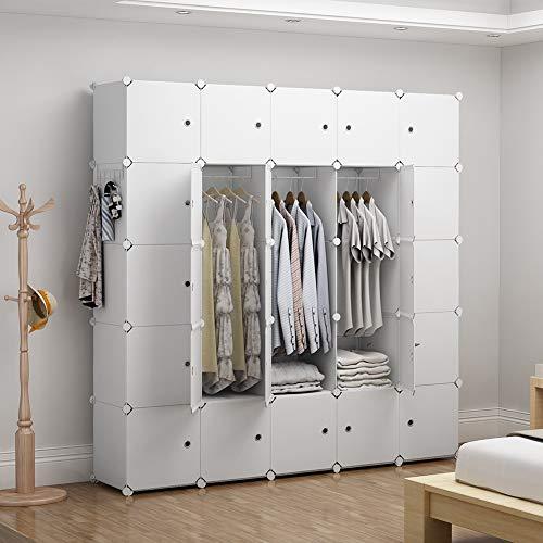 (GEORGE&DANIS Portable Wardrobe Plastic Modular Closet Organization Customizable Cube Storage Organizer Bedroom Armoire Dresser, White, 3 Hangers & 16)