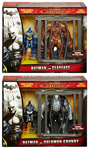 DC Comics Batman and Clayface Multiverse & Batman and Solomon Grundy Figures Arkham City 4-Inch Classic Comic Skin 2-Packs