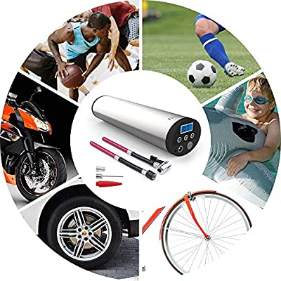 fineed Portable Air Compressor Pump,12V DC Hand Held Tire Inflator,150 PSI Electric Auto Pump for Car,Motorcycle,Bike,Toys,Rechargeable, Easy to Read W/Digital Pressure Gauge(1701S): Automotive