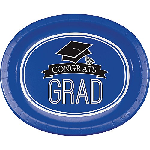 Creative Converting 8 Count School Spirit Oval Paper Platters for Graduation Party, Cobalt Blue