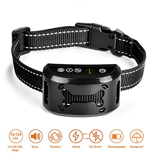 Dog Bark Collar - Dog Anti Bark Collar - Stop Barking with Beep/Vibration/Harmless Shock, Rechargeable and Waterproof Humane No Bark Control for Small Medium and Large Dog
