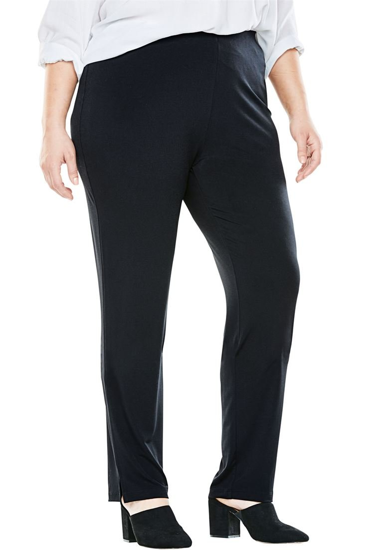 Women's Plus Size Petite Travel Mixer Slim Pant Black,22/24