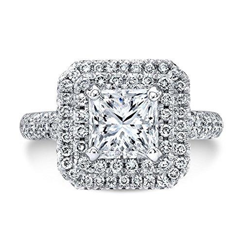 DIAMOND MANSION Natural Princess Cut Double Halo 2-Row Micro-Pave Vintage Diamond Engagement Ring - GIA Certified (Yellow-Gold, 1.90) 2 Row Pave Diamond