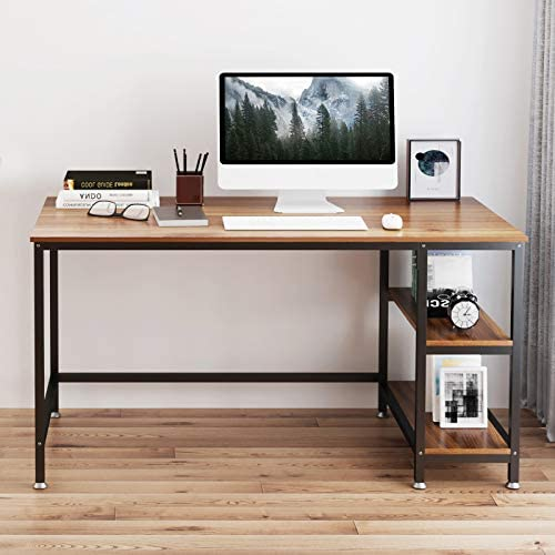 Yoleo Home Office Desk with 2 Shelves 47.2 inch Office Desk with Metal Legs Industrial Style Computer Desk Modern Steel Frame Wood Desk Compact Home Office Workstation Walnut