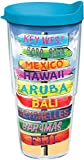 Tervis 1213219 Tropical Destination Signs Tumbler with Wrap and Turquoise Lid 24oz, Clear