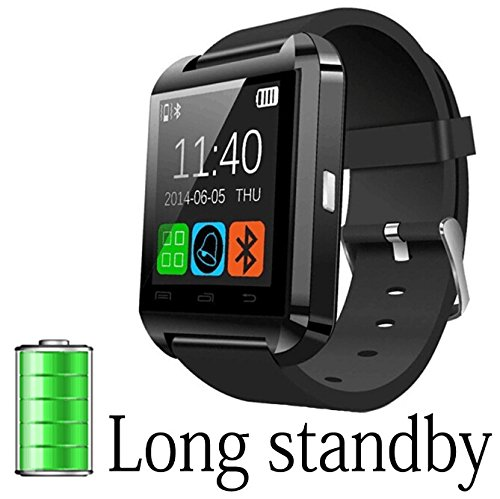 A8Power U8 Bluetooth Watch Smart WristWatch Phone Mate for Smartphones IOS Apple iphone Android Samsung S2S3S4S5Note 2Note 3 HTC (Black)