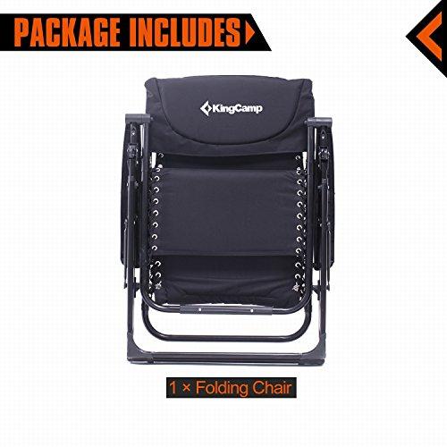 KingCamp Zero Gravity Oversized XL Padded Chair - Black