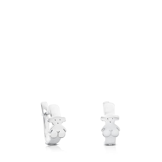 TOUS Pendientes Gen en Plata de Primera Ley con Oso motifo: 0,8 cm
