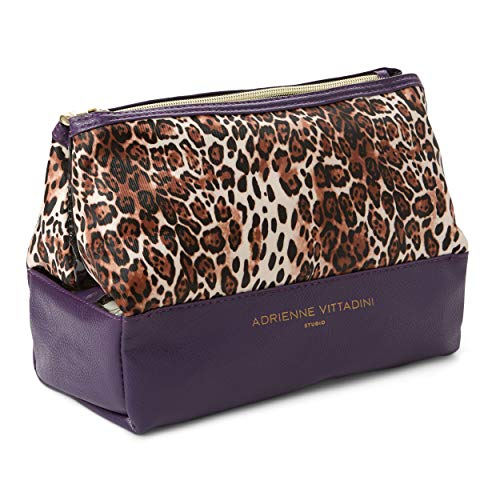 Adrienne Vittadini Cosmetic Makeup Bags: Compact Travel Toiletry Bag - (Leopard Print) (Leopard Cosmetic)