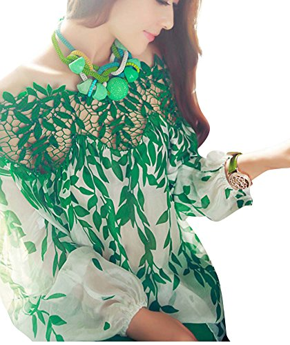 Keral Hollow Tree Leaves Slash Neck Strapless Silk Printed Chiffon Lace Shirt_Green_XL
