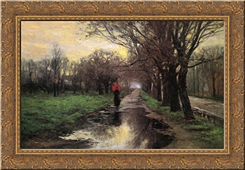 Meridian Street, Thawing Weather 24x18 Gold Ornate Wood Framed Canvas Art by T. C. Steele