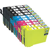 10 Pack - Remanufactured Ink Cartridges for Epson #125 T125 125 T125120 T125220 T125320 T125420 Inkjet Cartridge Compatible With Epson Stylus NX125 NX230 NX420 NX625 WORKFORCE 320 323 520 (4 Black, 2 Cyan, 2 Magenta, 2 Yellow) Ink & Toner 4 You®