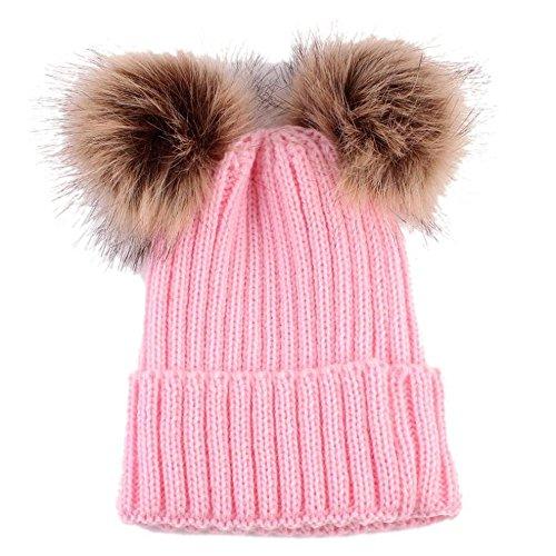 Landfox Newborn Cute Warm Winter Knitted Wool Hemming Hat (Pink)