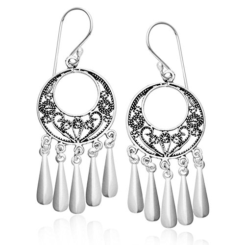 Sterling Silver Bali Filigree Chandelier Hoop Dangle ()
