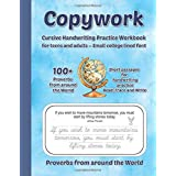 Copywork Cursive Handwriting Practice Workbook For teens and adults – Small college lined font Proverbs from around the World