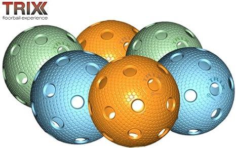 Trix floorball/Floor balón 6er Paquete match bola de hockey ...