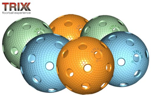 TRIX Unihockey / Floorball Ball 6er Pack MATCHBALL COLOR MIX