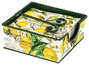 Michel Design Works Decorative Tin Cocktail Napkin Holder Gift Set, Lemon Basil