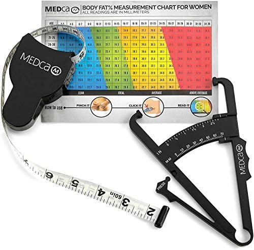 Skinfold Body Fat Caliper - Skin Fold Body Fat Analyzer and Handheld BMI Measurement Tool Skinfold Caliper Device Measures Body Fat for Men and Women by MEDca - (Pack of 2, Black) 9