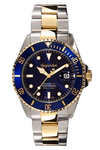 Gigandet Men's Automatic Diver Watch Sea Ground Analog Stainless Steel 30atm Two-Tone Blue Gold G2-001
