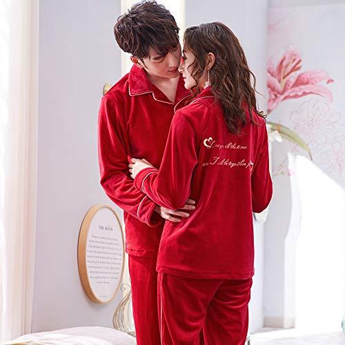 Para Dos Gwdj Tamaño Invierno Color Espesar male Recién Red Mujer El Casual Pijamas Piel Casado Suelen Rojo La Xxxl Hombre Hogar Amigable Cómodos Piezas Ropa Festivo Amantes Pijamas RA6qrR