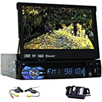 7 Inch Universal 1 Din Car Audio DVD Player Detachable Front Panel Touchscreen Car Radio Video Stereo Autoradio Bluetooth In Dash GPS Navigation for Vehicle with Free Wireless Rear View Camera