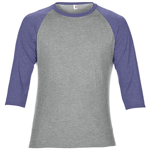 shirt Melanzana maniche T Tone Raglan 3 Grigio Anvil Jaspeado 4 Modello Two Unisex 1HBnqwxF5x