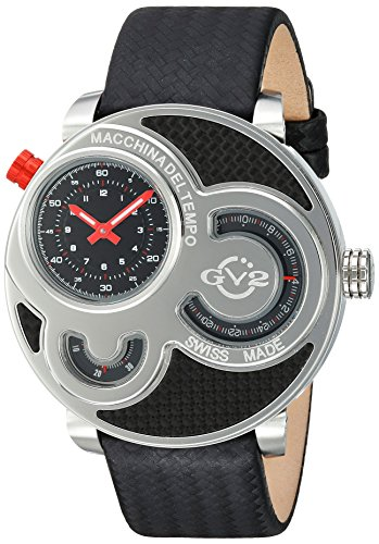 GV2 by Gevril Macchina Del Tempo Mens Swiss Quartz Carbon Fiber Pattern Black Leather Strap Watch, (Model: 8300)