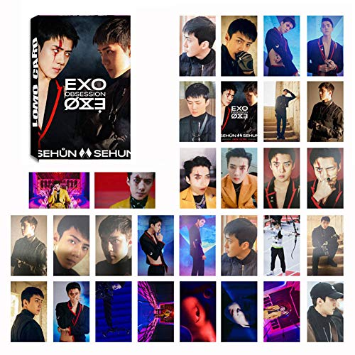Heyu-Lotus Kpop EXO Album OBSESSION Photo Card PhotoBook Poster LOMO Cards Gift Sticker for Fans(1.H03)