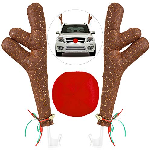 Unomor Christmas Reindeer Antlers Car Decoration, Car Antlers & Nose With Jingle Bell]()