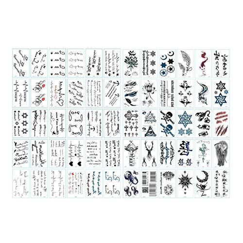 (CiCy 60 Sheets Temporary Tattoo Stickers Various Designs Removable Waterproof Temporary Tattoos Body Art Sticker Sheet Paper (Wings, Letters, Stars, Queen, Cats, Totem, Cardiogram hot Etc.))