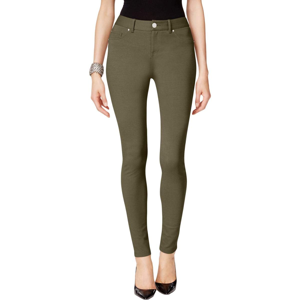 INC Womens Ponte Skinny Leg Casual Trousers Darkrain 16