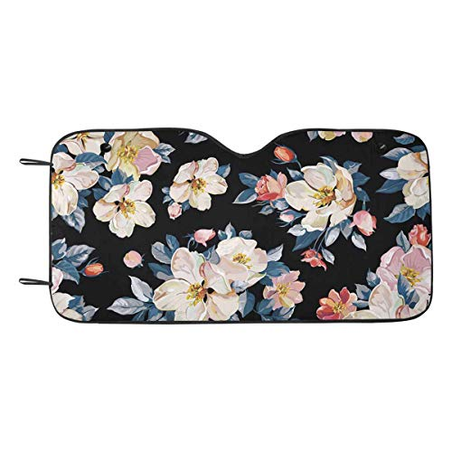 INTERESTPRINT Elegance Cherry and Jasmine Branch Blossoming Apple Tree Auto Windshield Visor 55 x 29.53 Inches Sun Blocker Protector ()