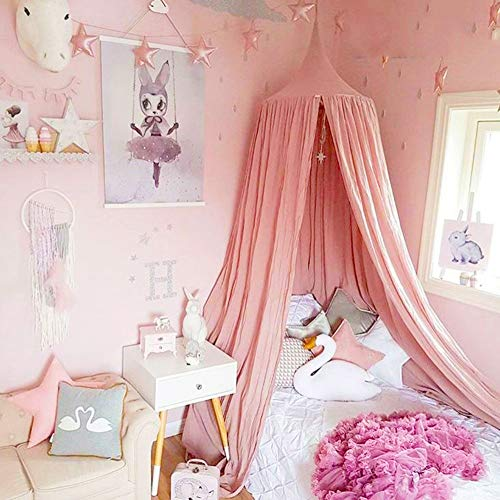 Dix-Rainbow LEDUNUS Princess Bed Canopy Mosquito Net for Kids Baby Bed, Round Dome Kids Indoor Outdoor Castle Play Tent Hanging House Decoration Reading Nook Cotton Canvas Coral Pink