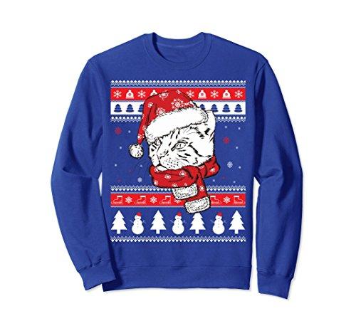 Unisex Funny Bengal Cat Ugly Christmas Sweatshirt Pet Gift XL: Royal Blue