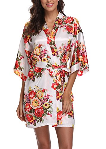 (Laurel Snow Floral Satin Kimono Robes for Women Short Bridesmaid and Bride Robe for Wedding Party,White S)
