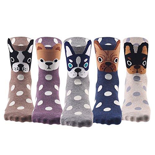 Keaza Womens Dog Cotton Socks Crew Novelty Liner Socks 5-pack WZ10 (C2)