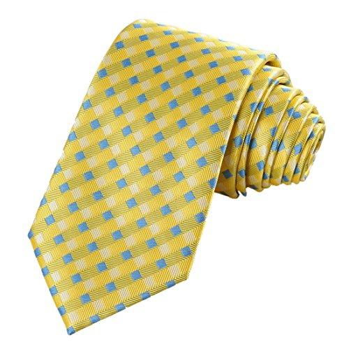 Cross Pattern Yellow (Mens Yellow Blue Cross Checked Pattern Jacquard Woven Tie Necktie)