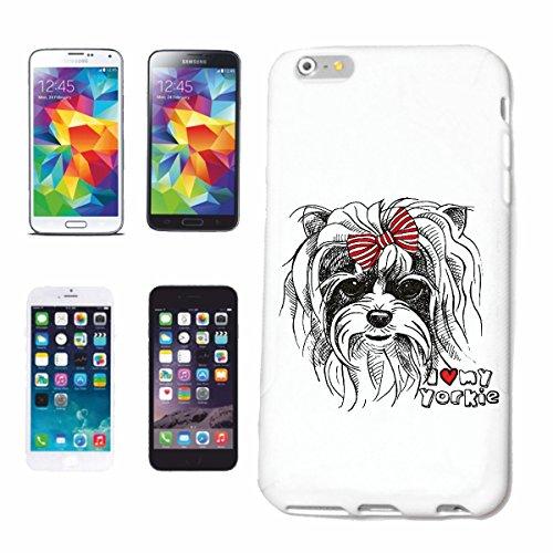 """cas de téléphone iPhone 6+ Plus """"I LOVE MY DOG YORKIE YORK TERRIER ELEVAGE MAISON CHIENS KENNEL ÉLEVEURS PUPPY FORMATION CARE"""" Hard Case Cover Téléphone Covers Smart Cover pour Apple iPhone en blanc"""