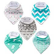 Baby Bandana Drool Bibs | Soft and Super Absorbent | Unisex 5 Pack Gift Set for Drooling and Teething | 100% Cotton Hypoallergenic- for Toddler Boys and Girls by Milleby
