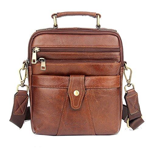 (Hebetag Vintage Leather Shoulder Messenger Bag for Men Travel Business Crossbody Pack HandBag Wallet Phone Pouch Purse Brown)