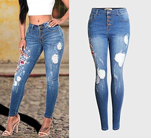 Collant Ripped Femmes Jeans YOUJIA Fleur Brod Bleu Denim Haute Crayon Tapered Dchir Taille Pantalon 8qZTg