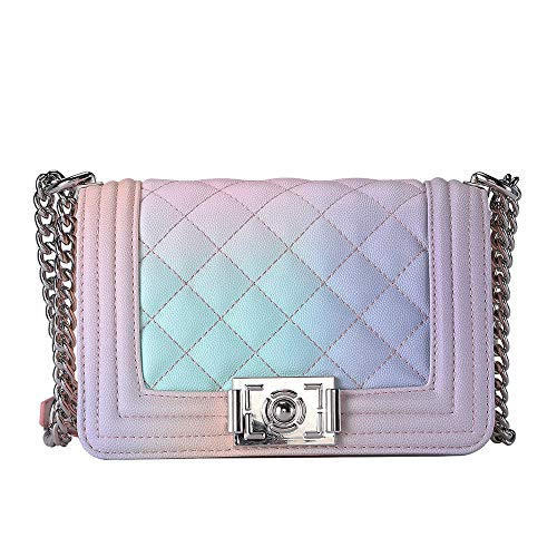 Gradient Color Classic Guilted PU Crossbody Shoulder Bag Purse for Women with Adjustable Metal Chain Strap ()